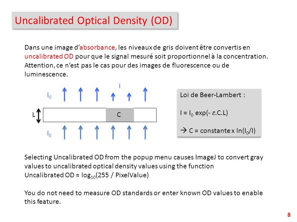 8 Dans une image dabsorbance, les niveaux de gris doivent être convertis en uncalibrated OD pour que le signal mesuré soit proportionnel à la concentr
