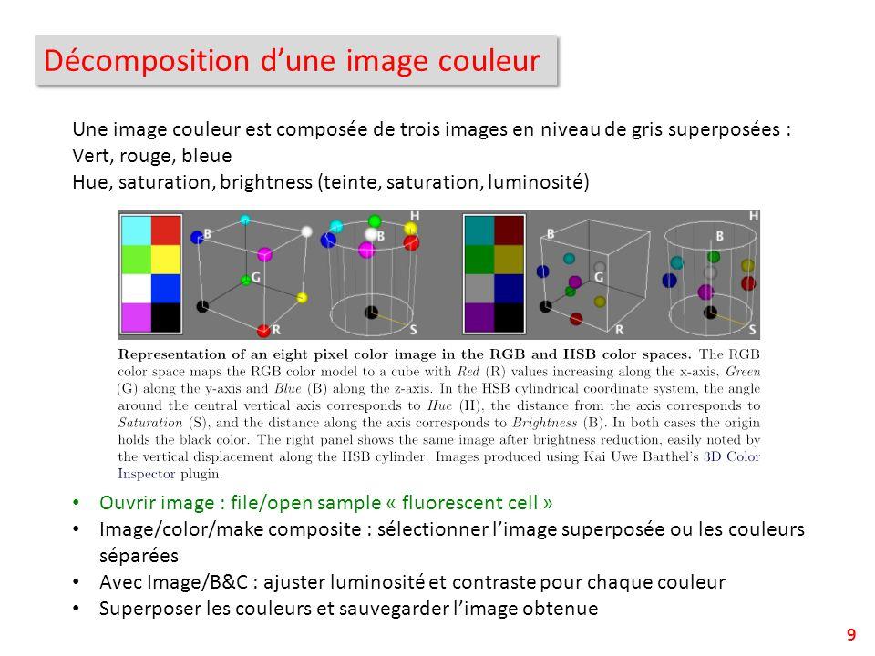 Décomposition dune image couleur 9 Une image couleur est composée de trois images en niveau de gris superposées : Vert, rouge, bleue Hue, saturation,