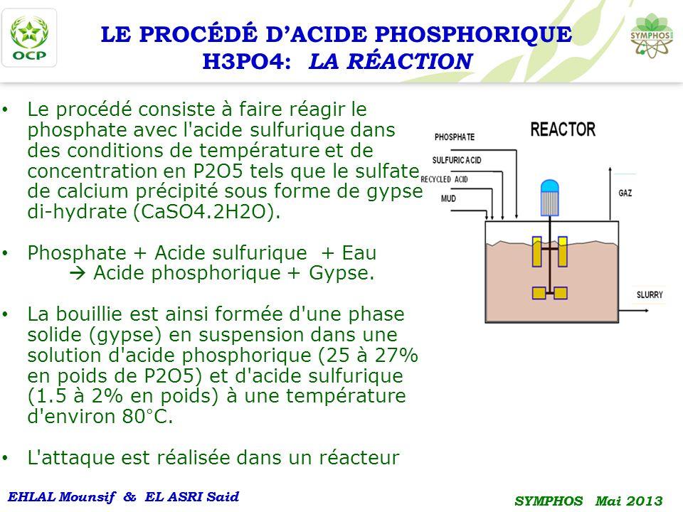 EHLAL Mounsif & EL ASRI Said SYMPHOS Mai 2013 EHLAL Mounsif & EL ASRI Said SYMPHOS Mai 2013 Le procédé consiste à faire réagir le phosphate avec l'aci