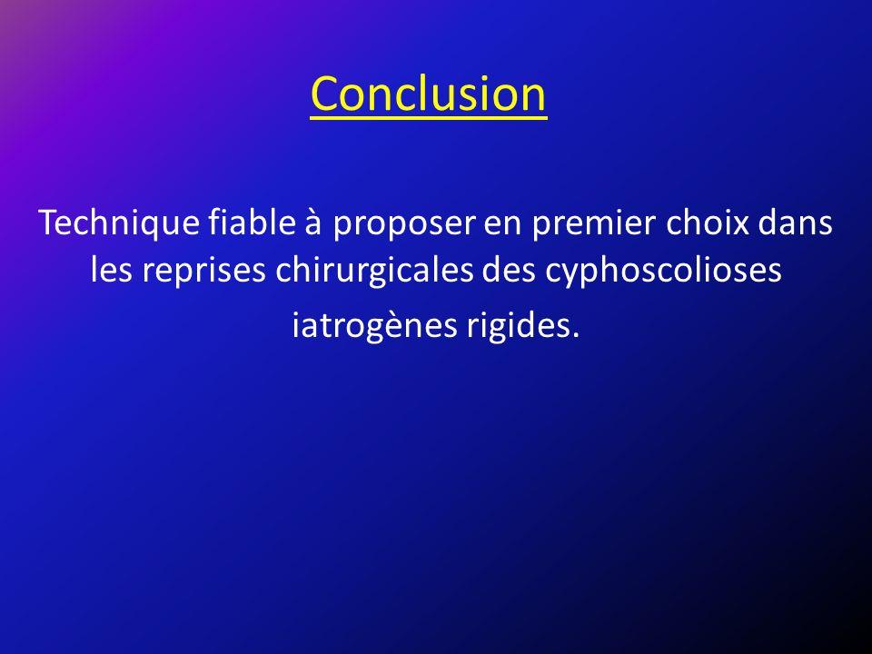 Conclusion Technique fiable à proposer en premier choix dans les reprises chirurgicales des cyphoscolioses iatrogènes rigides.