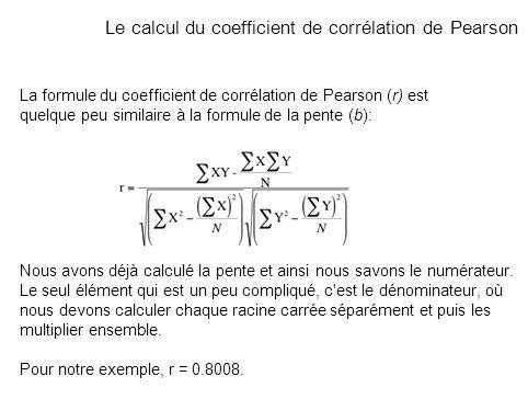 La formule du coefficient de corrélation de Pearson (r) est quelque peu similaire à la formule de la pente (b): Nous avons déjà calculé la pente et ai