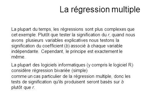 La plupart du temps, les régressions sont plus complexes que cet exemple. Plutôt que tester la signification du r, quand nous avons plusieurs variable