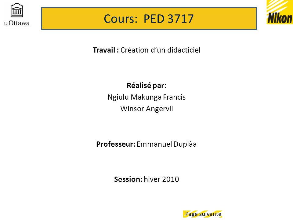 Travail : Création dun didacticiel Réalisé par: Ngiulu Makunga Francis Winsor Angervil Professeur: Emmanuel Duplàa Session: hiver 2010 Cours: PED 3717