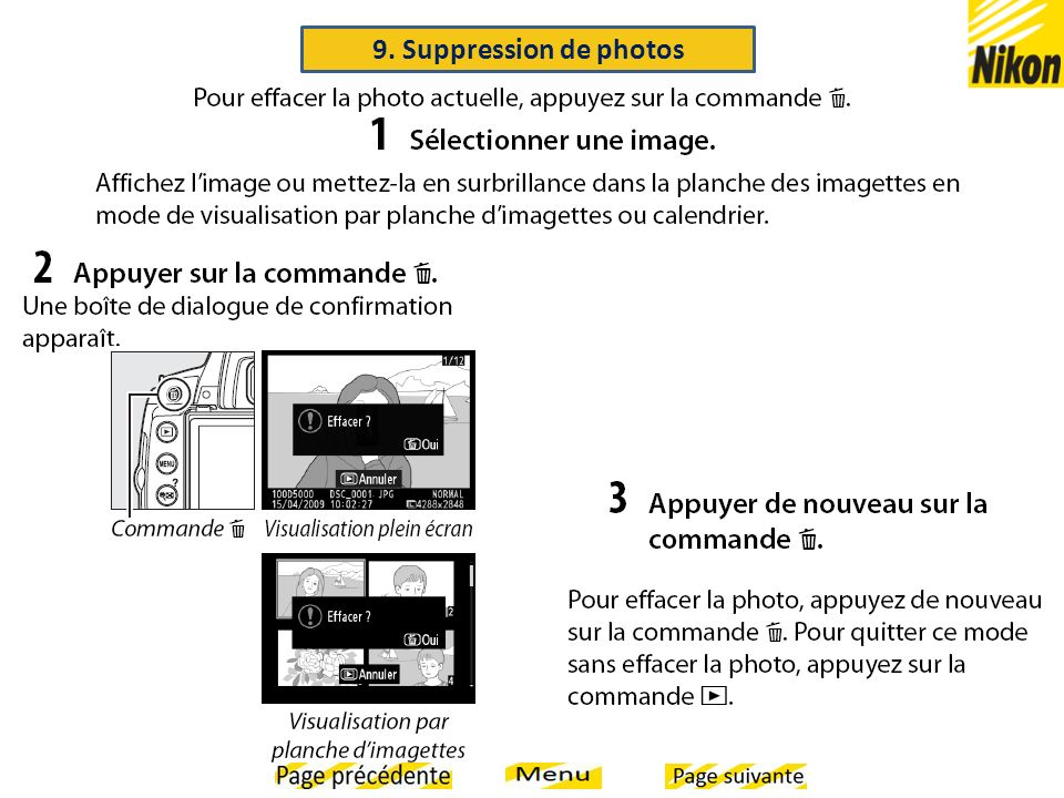 9. Suppression de photos