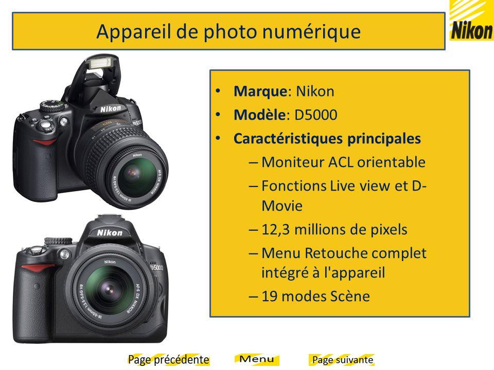 Marque: Nikon Modèle: D5000 Caractéristiques principales – Moniteur ACL orientable – Fonctions Live view et D- Movie – 12,3 millions de pixels – Menu