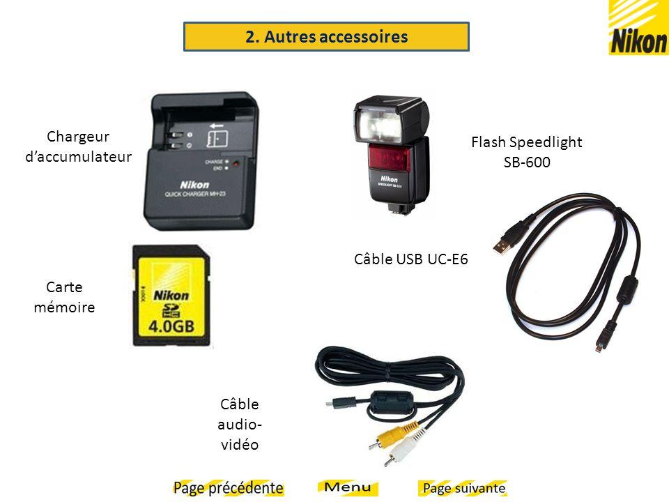 Flash Speedlight SB-600 Câble USB UC-E6 Chargeur daccumulateur Carte mémoire Câble audio- vidéo 2. Autres accessoires