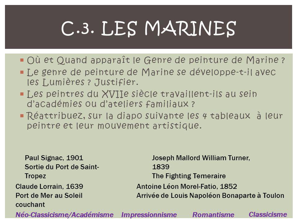 Où et Quand apparaît le Genre de peinture de Marine .