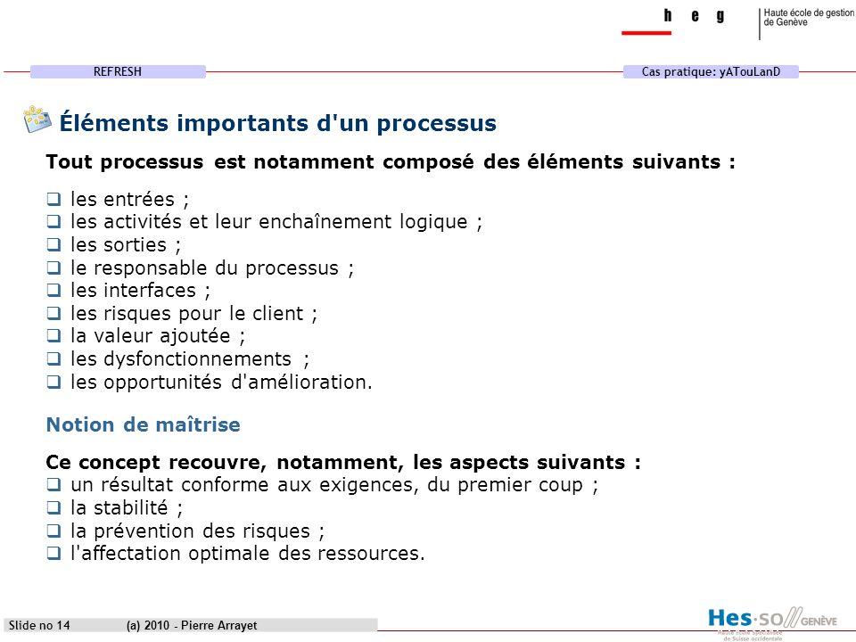 REFRESHCas pratique: yATouLanD (a) 2010 - Pierre Arrayet Slide no 14 Éléments importants d'un processus Tout processus est notamment composé des éléme