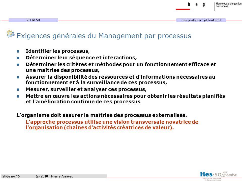 REFRESHCas pratique: yATouLanD (a) 2010 - Pierre Arrayet Slide no 15 Exigences générales du Management par processus Identifier les processus, Détermi