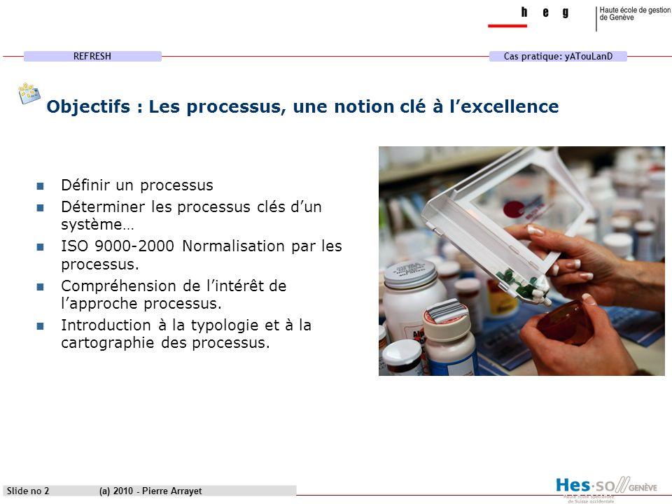REFRESHCas pratique: yATouLanD (a) 2010 - Pierre Arrayet Slide no 2 Objectifs : Les processus, une notion clé à lexcellence Définir un processus Déter