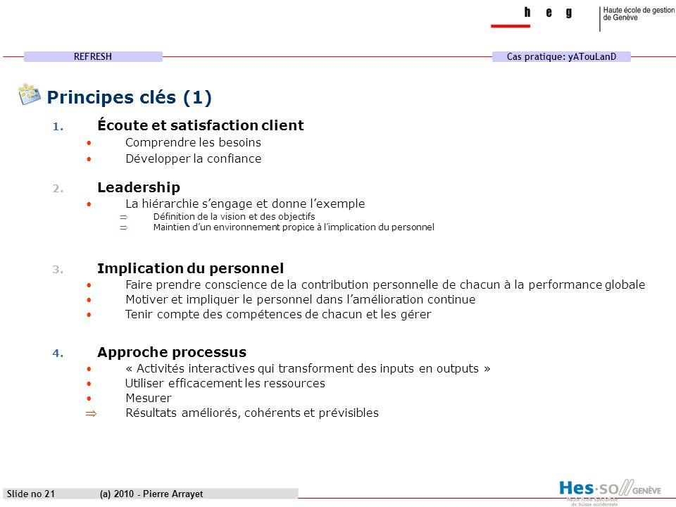 REFRESHCas pratique: yATouLanD (a) 2010 - Pierre Arrayet Slide no 21 Principes clés (1) 1. Écoute et satisfaction client Comprendre les besoins Dévelo