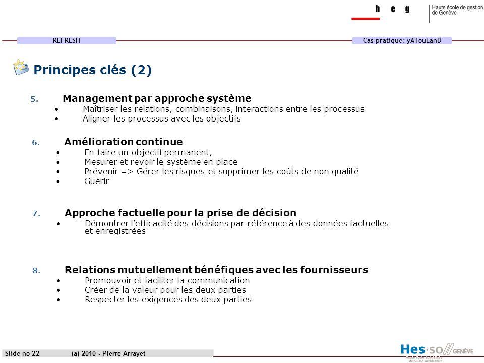 REFRESHCas pratique: yATouLanD (a) 2010 - Pierre Arrayet Slide no 22 Principes clés (2) 5. Management par approche système Maîtriser les relations, co
