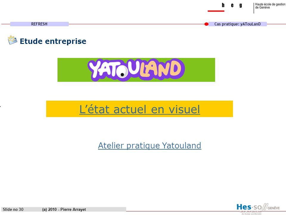 REFRESHCas pratique: yATouLanD (a) 2010 - Pierre Arrayet Slide no 30 Etude entreprise Létat actuel en visuel Atelier pratique Yatouland