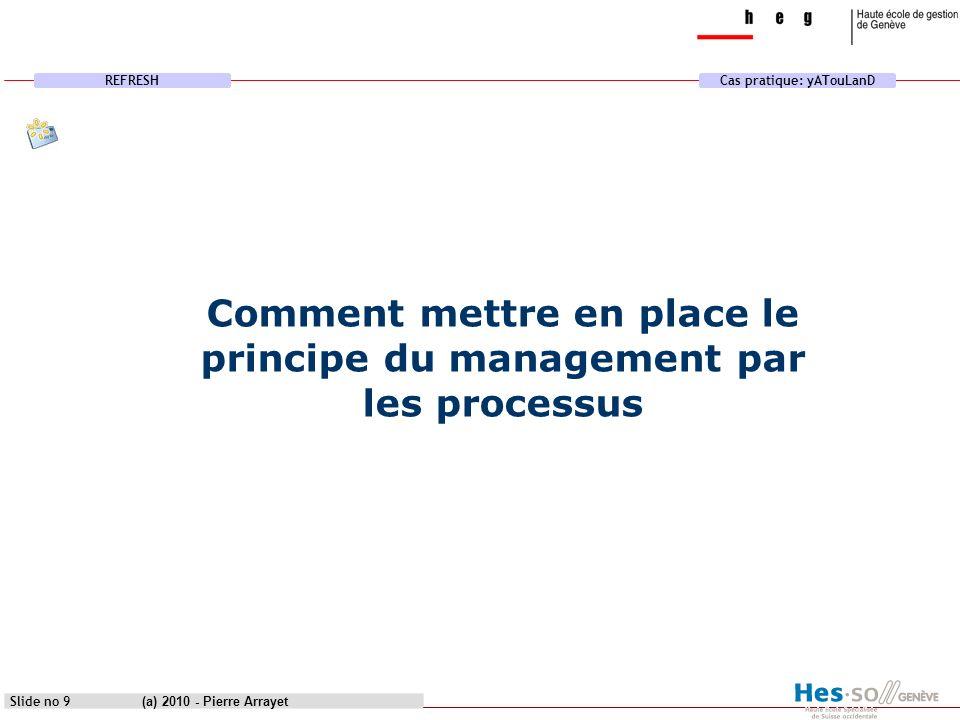 REFRESHCas pratique: yATouLanD (a) 2010 - Pierre Arrayet Slide no 20 1.Écoute client 2.Leadership 3.Implication du personnel 4.Approche processus 5.Management par approche système 6.Amélioration continue 7.Approche factuelle pour la prise de décision 8.Relations mutuellement bénéfiques avec les fournisseurs Les huit principes MQ selon la norme ISO 9001 version 2000 Regroupé dans quatre catégories de processus organisationnel Processus de Management Processus de Réalisation Processus support Processus de Mesure 1.Plan : ce que l on va faire 2.Do : production 3.Check : mesure, vérification 4.Act : décision améliorative, corrective Concept détaillé