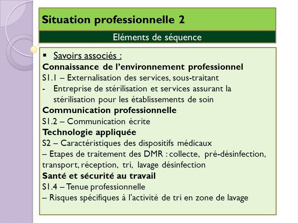 Savoirs associés : Connaissance de lenvironnement professionnel S1.1 – Externalisation des services, sous-traitant -Entreprise de stérilisation et ser