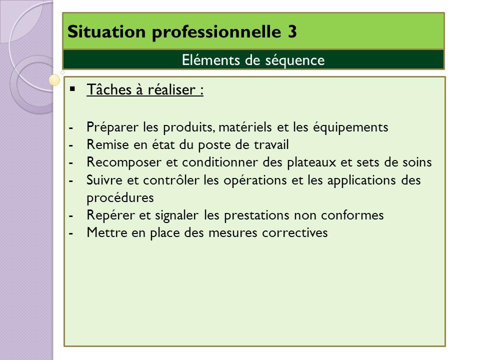 Situation professionnelle 3 Eléments de séquence Tâches à réaliser : -Préparer les produits, matériels et les équipements -Remise en état du poste de