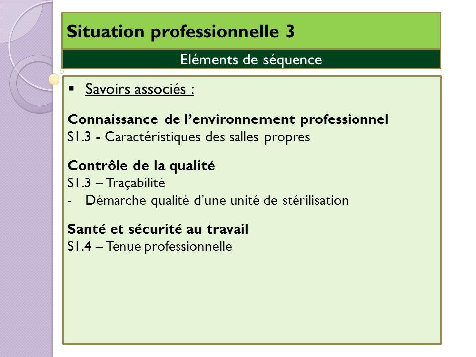 Situation professionnelle 3 Savoirs associés : Connaissance de lenvironnement professionnel S1.3 - Caractéristiques des salles propres Contrôle de la