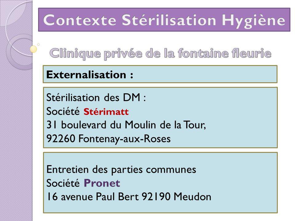 Externalisation : Stérilisation des DM : Société Stérimatt 31 boulevard du Moulin de la Tour, 92260 Fontenay-aux-Roses Entretien des parties communes