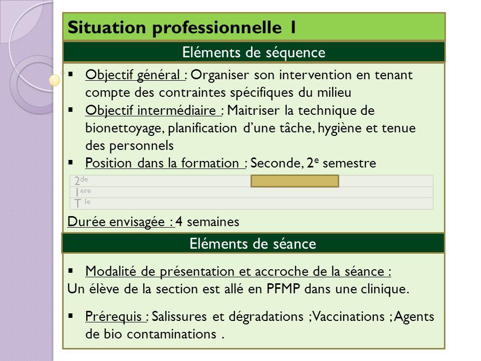 Situation professionnelle 1 Objectif général : Organiser son intervention en tenant compte des contraintes spécifiques du milieu Objectif intermédiair