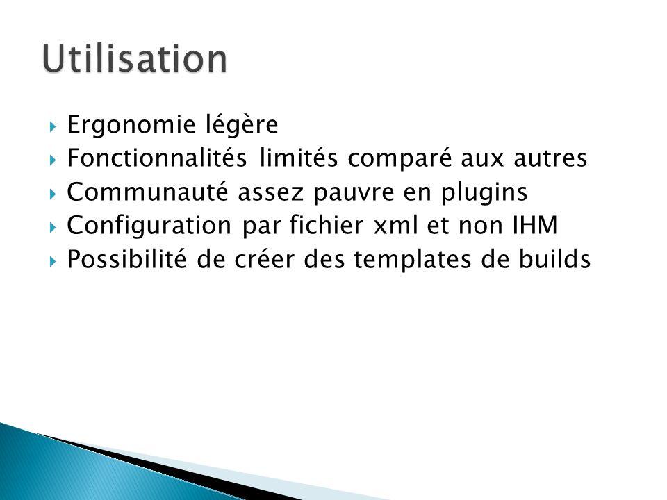 Ergonomie légère Fonctionnalités limités comparé aux autres Communauté assez pauvre en plugins Configuration par fichier xml et non IHM Possibilité de