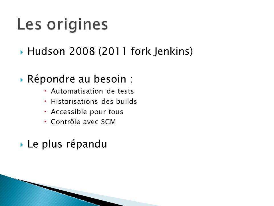 Hudson 2008 (2011 fork Jenkins) Répondre au besoin : Automatisation de tests Historisations des builds Accessible pour tous Contrôle avec SCM Le plus