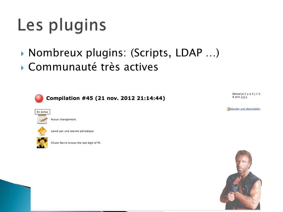 Nombreux plugins: (Scripts, LDAP …) Communauté très actives