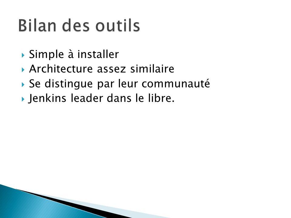 Simple à installer Architecture assez similaire Se distingue par leur communauté Jenkins leader dans le libre.