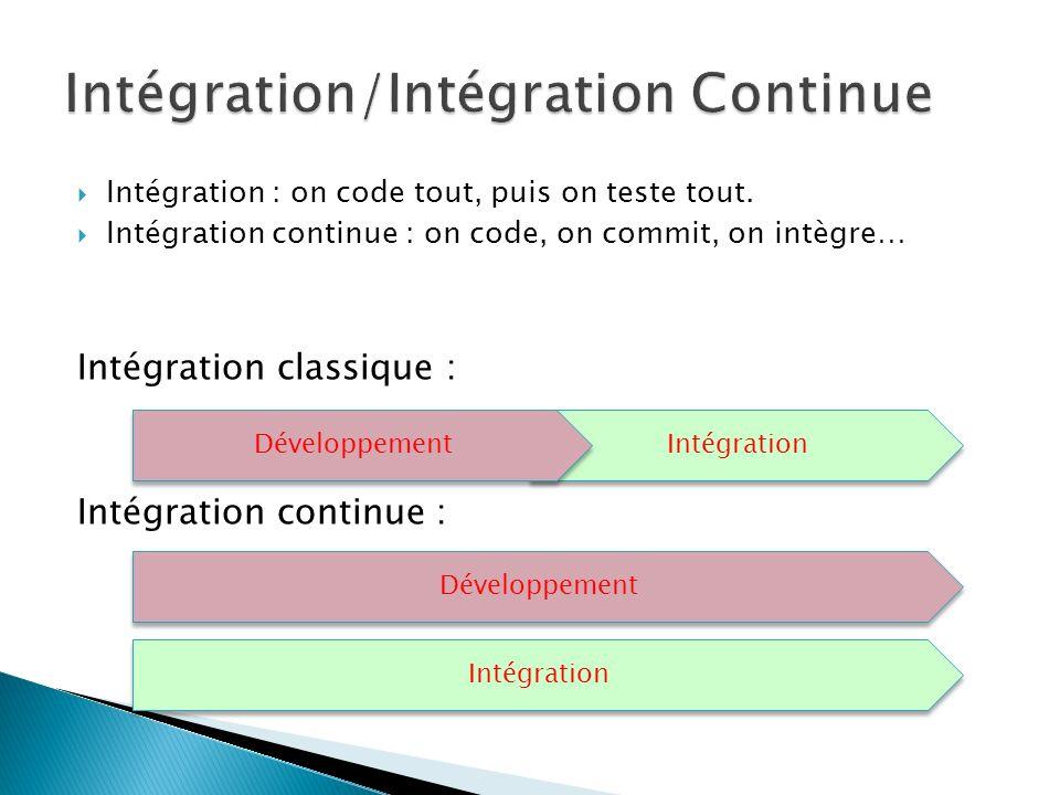 Intégration : on code tout, puis on teste tout. Intégration continue : on code, on commit, on intègre… Intégration classique : Intégration continue :