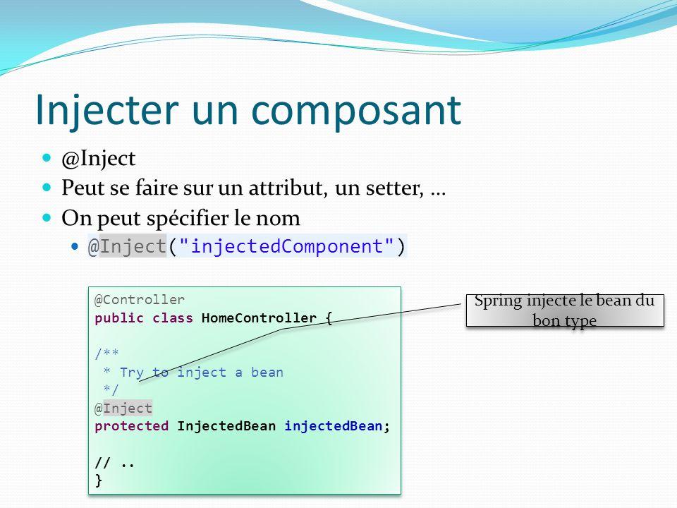 Injecter un composant @Inject Peut se faire sur un attribut, un setter, … On peut spécifier le nom @Inject(