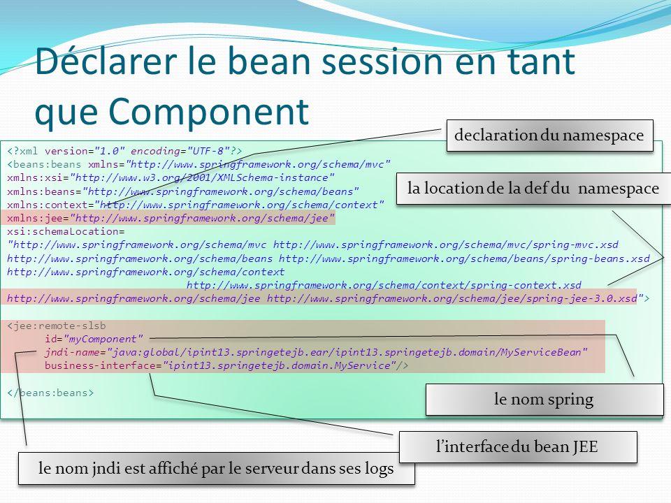 Déclarer le bean session en tant que Component Dans le fichier de configuration <beans:beans xmlns=