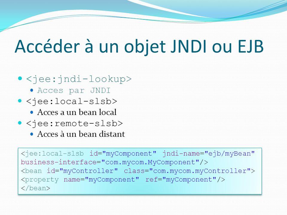 Accéder à un objet JNDI ou EJB Acces par JNDI Acces a un bean local Acces à un bean distant <jee:local-slsb id= myComponent jndi-name= ejb/myBean business-interface= com.mycom.MyComponent /> <jee:local-slsb id= myComponent jndi-name= ejb/myBean business-interface= com.mycom.MyComponent />
