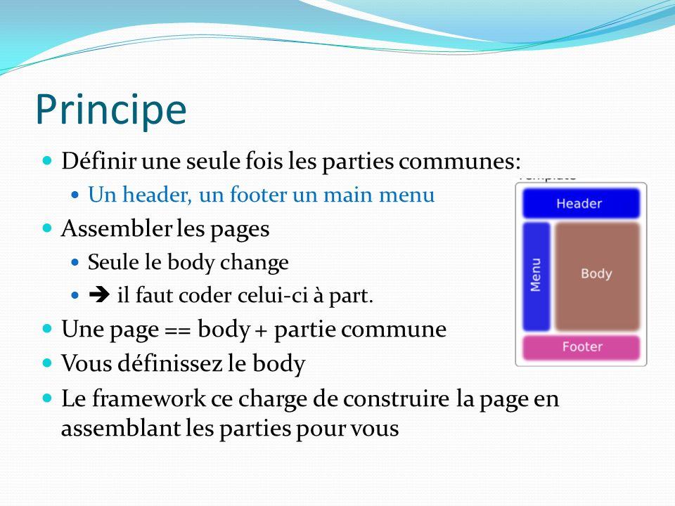 Principe Définir une seule fois les parties communes: Un header, un footer un main menu Assembler les pages Seule le body change il faut coder celui-ci à part.