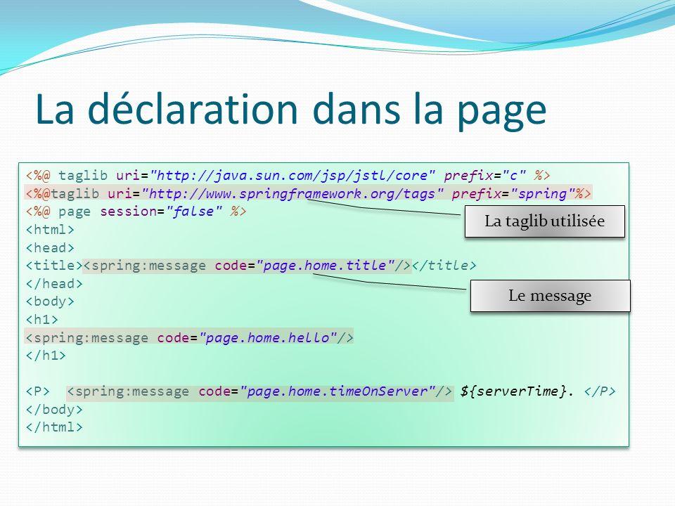 La déclaration dans la page ${serverTime}. ${serverTime}. La taglib utilisée Le message