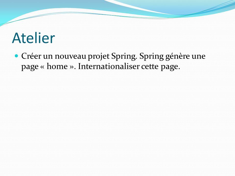 Atelier Créer un nouveau projet Spring.Spring génère une page « home ».