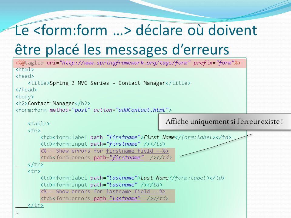 Le déclare où doivent être placé les messages derreurs Spring 3 MVC Series - Contact Manager Contact Manager First Name Last Name … Spring 3 MVC Serie