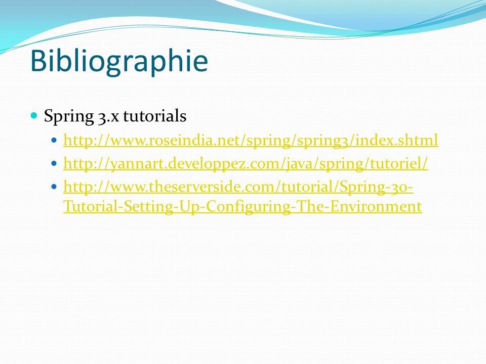 Bibliographie Spring 3.x tutorials http://www.roseindia.net/spring/spring3/index.shtml http://yannart.developpez.com/java/spring/tutoriel/ http://www.