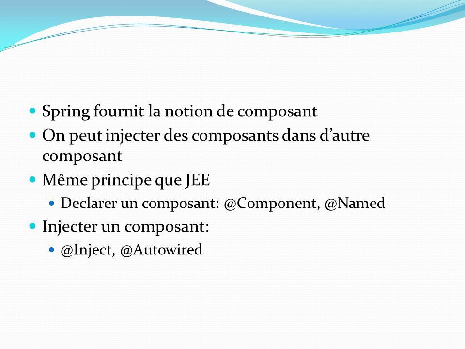Spring fournit la notion de composant On peut injecter des composants dans dautre composant Même principe que JEE Declarer un composant: @Component, @Named Injecter un composant: @Inject, @Autowired