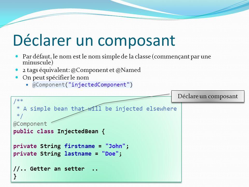 Déclarer un composant Par défaut, le nom est le nom simple de la classe (commençant par une minuscule) 2 tags équivalent: @Component et @Named On peut