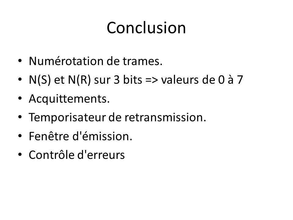 Conclusion Numérotation de trames. N(S) et N(R) sur 3 bits => valeurs de 0 à 7 Acquittements. Temporisateur de retransmission. Fenêtre d'émission. Con