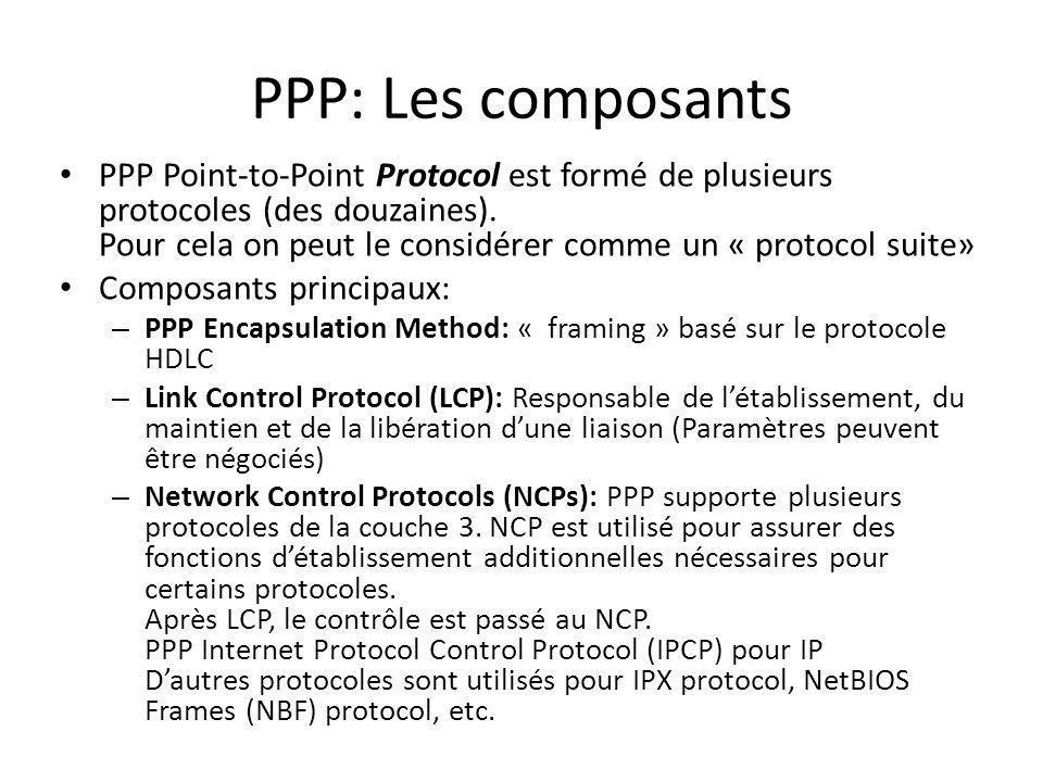 PPP: Les composants PPP Point-to-Point Protocol est formé de plusieurs protocoles (des douzaines). Pour cela on peut le considérer comme un « protocol