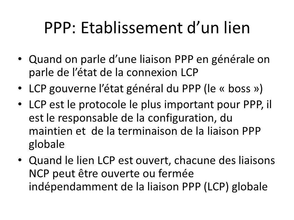 PPP: Etablissement dun lien Quand on parle dune liaison PPP en générale on parle de létat de la connexion LCP LCP gouverne létat général du PPP (le «