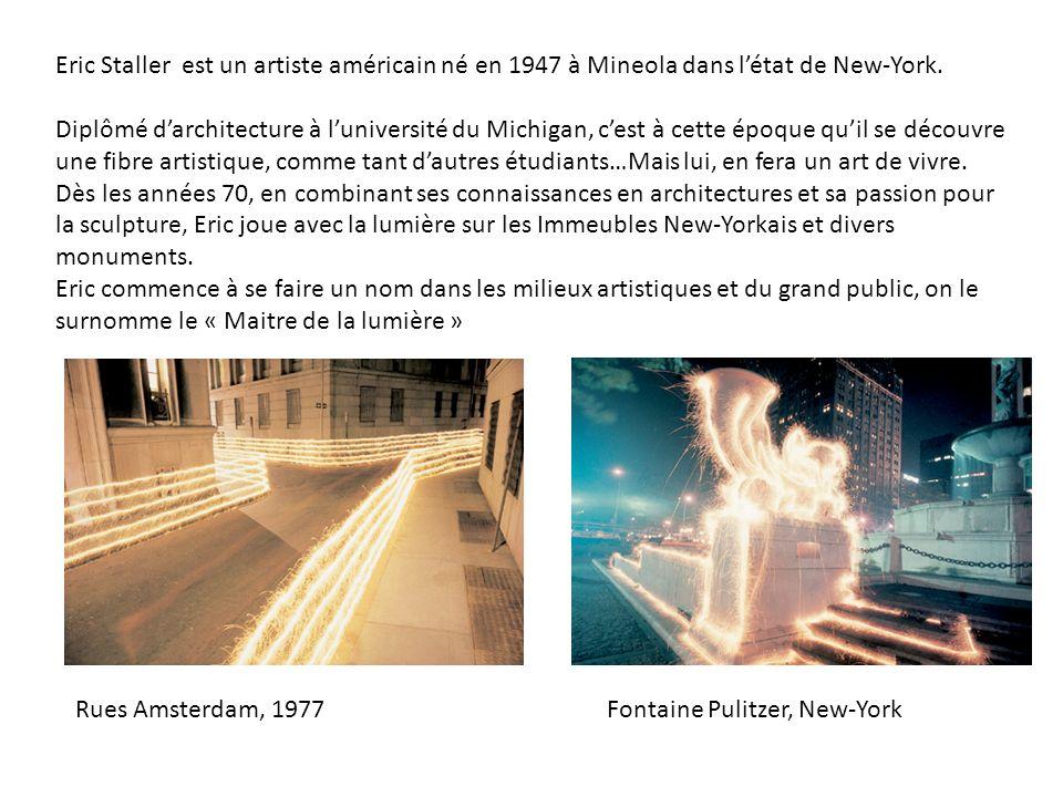 Eric Staller est un artiste américain né en 1947 à Mineola dans létat de New-York. Diplômé darchitecture à luniversité du Michigan, cest à cette époqu