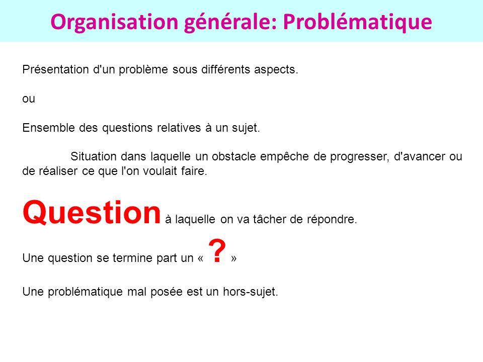 Organisation générale: Problématique Présentation d'un problème sous différents aspects. ou Ensemble des questions relatives à un sujet. Situation dan