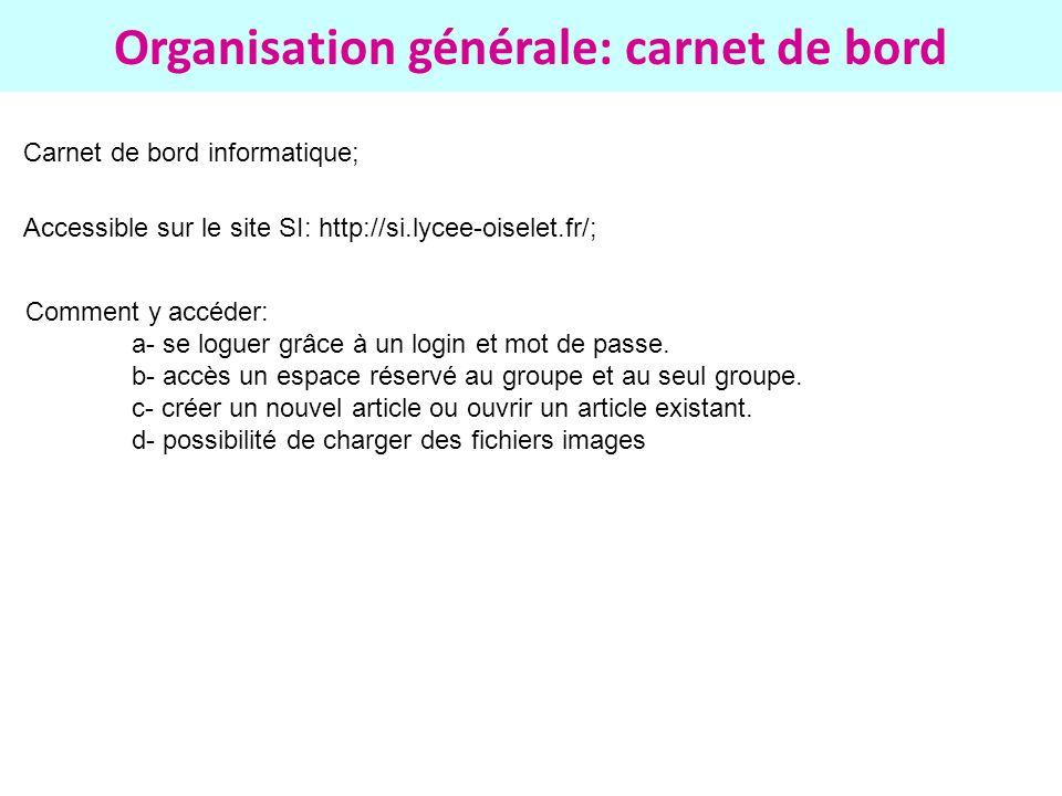 Organisation générale: carnet de bord Carnet de bord informatique; Accessible sur le site SI: http://si.lycee-oiselet.fr/; Comment y accéder: a- se lo