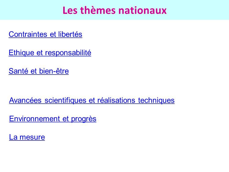 Les thèmes nationaux Contraintes et libertés Ethique et responsabilité Santé et bien-être Avancées scientifiques et réalisations techniques Environnem