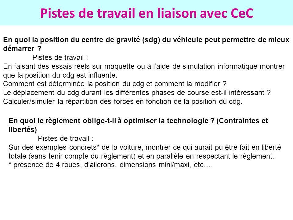 Pistes de travail en liaison avec CeC En quoi la position du centre de gravité (sdg) du véhicule peut permettre de mieux démarrer ? Pistes de travail