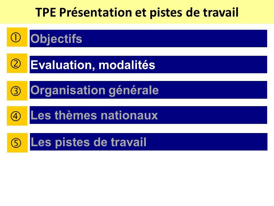 TPE Présentation et pistes de travail Objectifs Evaluation, modalités Organisation générale Les thèmes nationaux Les pistes de travail