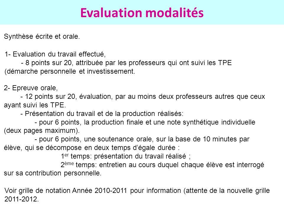 Evaluation modalités Synthèse écrite et orale. 1- Evaluation du travail effectué, - 8 points sur 20, attribuée par les professeurs qui ont suivi les T