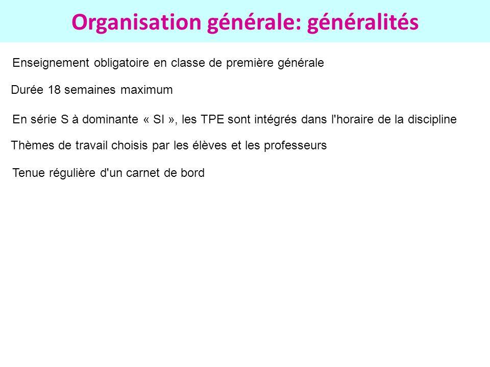 Organisation générale: généralités Enseignement obligatoire en classe de première générale Durée 18 semaines maximum En série S à dominante « SI », le