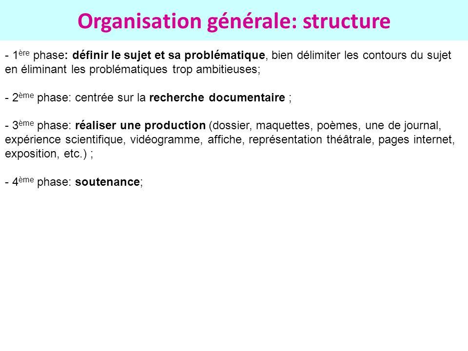 Organisation générale: structure - 1 ère phase: définir le sujet et sa problématique, bien délimiter les contours du sujet en éliminant les problémati